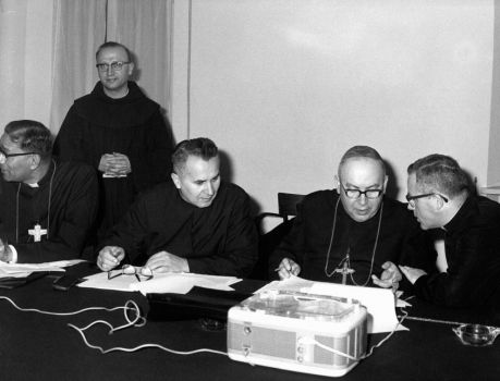 Cardinal Bolesław Kominek (second from the right) during the sessions of the Council