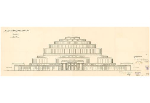 Max Berg, implementation design of Centennial Hall (elevation)